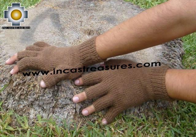 100% Alpaca Wool Fingerless gloves Brown