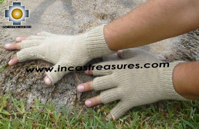 100% Alpaca Wool Fingerless gloves Camel