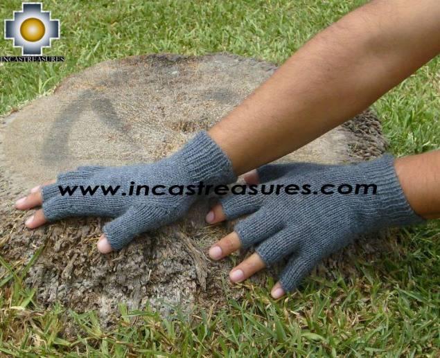 100% Alpaca Wool Fingerless gloves Gray