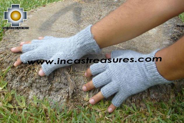 100% Alpaca Wool Fingerless Gloves silver  - Product id: ALPACAGLOVES09-20 Photo02
