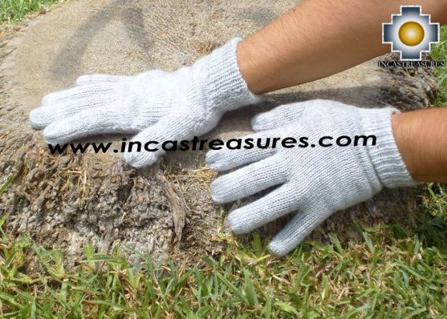 100% Alpaca Wool gloves Silver Gray phuyu - Product id: ALPACAGLOVES09-06 Photo02