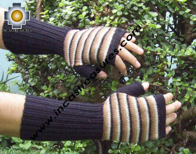 100% Alpaca Wool Mitts Beige Stripes - Product id: ALPACAGLOVES09-40 Photo03