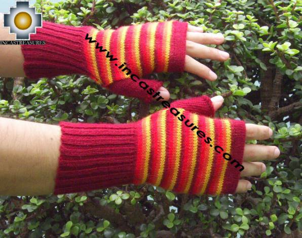 100% Alpaca Wool Mitts Red Stripes - Product id: ALPACAGLOVES09-38 Photo03