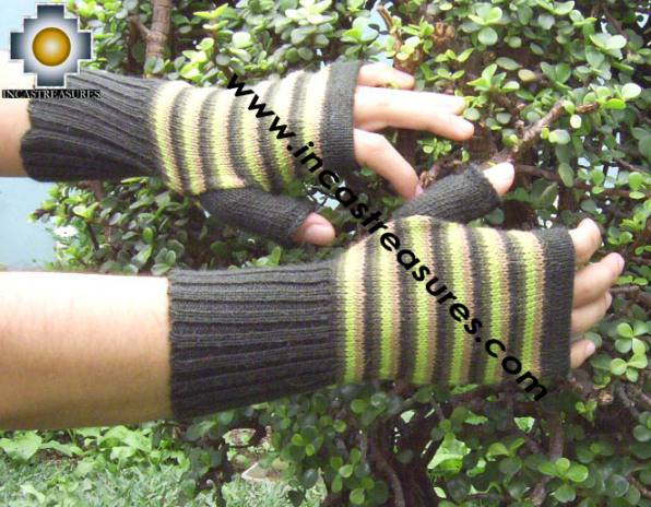 100% Alpaca Wool Mitts Yellow Stripes - Product id: ALPACAGLOVES09-39 Photo02
