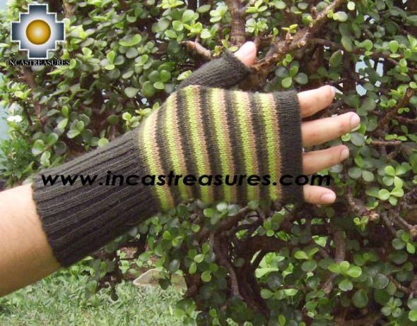 100% Alpaca Wool Mitts Yellow Stripes