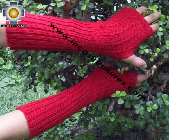 100% Alpaca Wool Wrist Warmers Gloves Solid Color - Product id: ALPACAGLOVES09-35