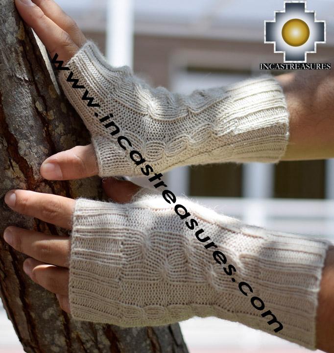 100% Alpaca Wool Wrist Warmers Braided - Product id: BABY-ALPACAGLOVES19-01X