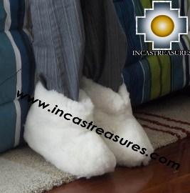 Baby Alpaca Slipper White Yeti - Product id: ALPACASLIPPERS13-01