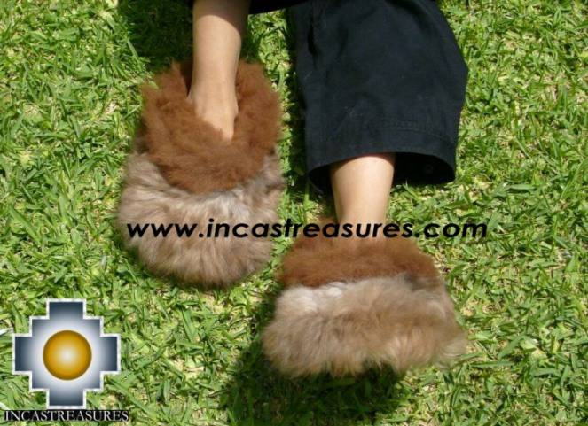 baby alpaca slippers brown Ampato free shipping