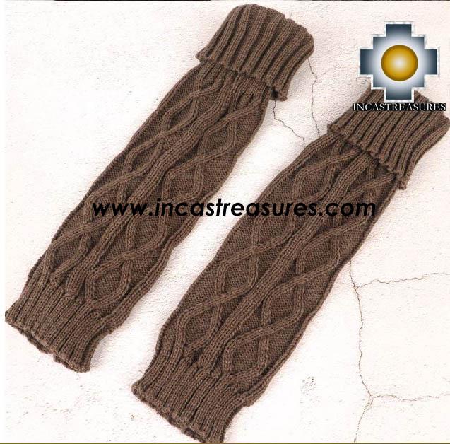 100% Alpaca Leg Warmers Knitted Flower - 100% ALPACA -