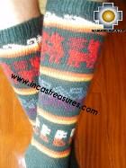Long Alpaca Socks llamas green - Product id: ALPACASOCKS12-03 Photo02