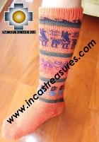 Long Alpaca Socks llamas orange - Product id: ALPACASOCKS12-04 Photo02