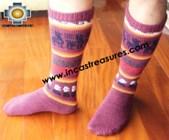 Long Alpaca Socks llamas purple - Product id: ALPACASOCKS12-05 Photo01