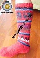 Long Alpaca Socks llamas red - Product id: ALPACASOCKS12-06 Photo02