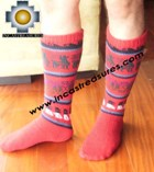 Long Alpaca Socks llamas red - Product id: ALPACASOCKS12-06 Photo01