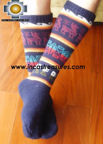 Long Alpaca Socks llamas blue,free shipping