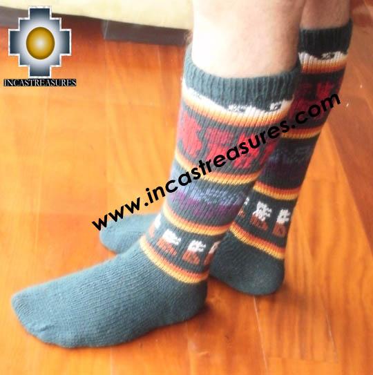 Long Alpaca Socks llamas green - Product id: ALPACASOCKS12-03