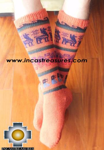 Long Alpaca Socks llamas Orange,free shipping