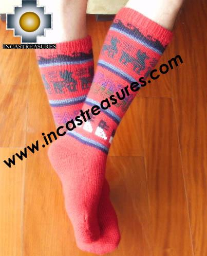 Long Alpaca Socks llamas Red,free shipping
