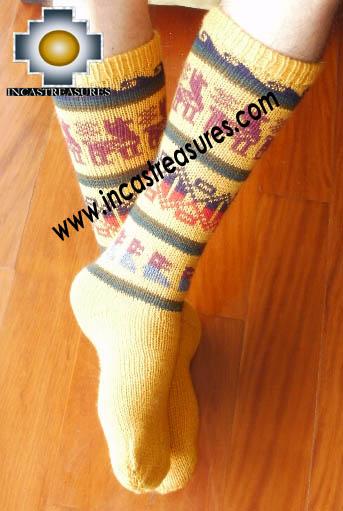 Long Alpaca Socks llamas Yellow,free shipping