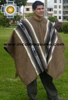 Alpaca Poncho Hualhua brown UNISEX  - Product id: ALPACA-PONCHO09-02 Photo03
