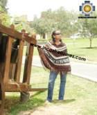 Alpaca Poncho short stripes UNISEX  - Product id: ALPACA-PONCHO09-07 Photo01