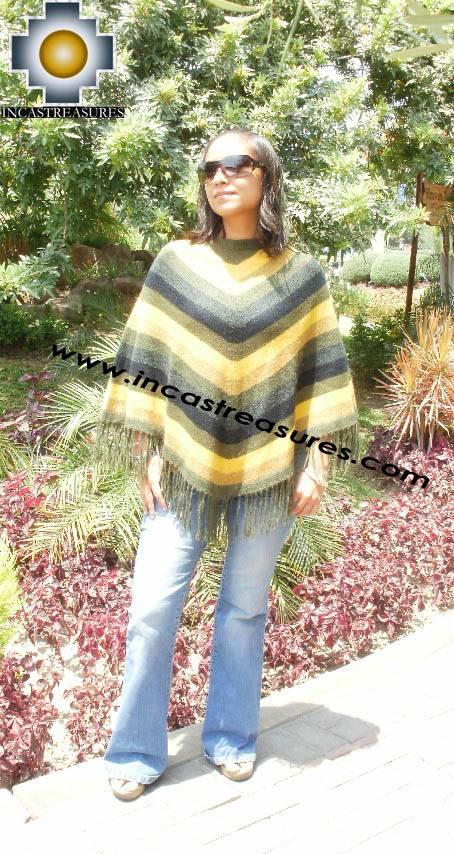 Alpaca Poncho short stripes UNISEX  - Product id: ALPACA-PONCHO09-05