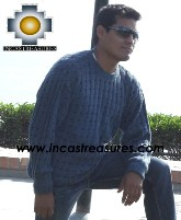 100% alpaca wool sweater for men dolphin  - Product id: mens-alpaca-sweater12-02 Photo01