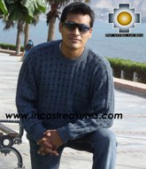 100% alpaca wool sweater for men dolphin  - Product id: mens-alpaca-sweater12-02 Photo02