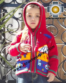 100% Alpaca Children Sweater with Hood tomatito  - Product id: children-sweater13-02 Photo03