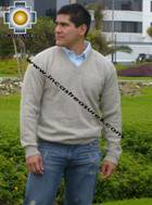 100% Baby Alpaca Sweater v Neck  - Product id: MENS-BABY-ALPACA-SWEATER09-12 Photo01