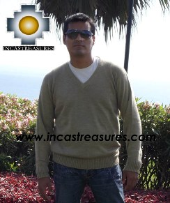 Men Alpaca Sweater V neck - Product id: womens-100-baby-alpaca-sweater13-11 Photo02