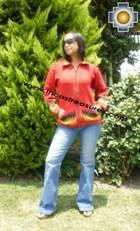 Women alpaca sweater ananaw with zipper  - Product id: womens-alpaca-sweater11-01 Photo01