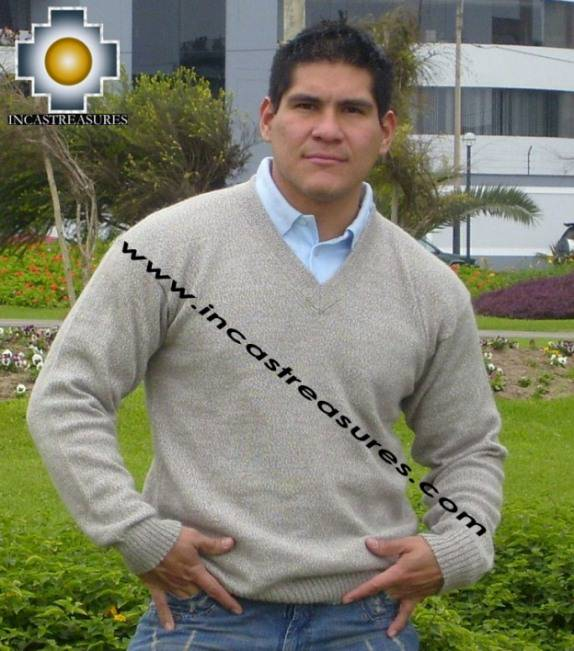 100% Baby Alpaca Sweater v Neck  - Product id: MENS-BABY-ALPACA-SWEATER09-12