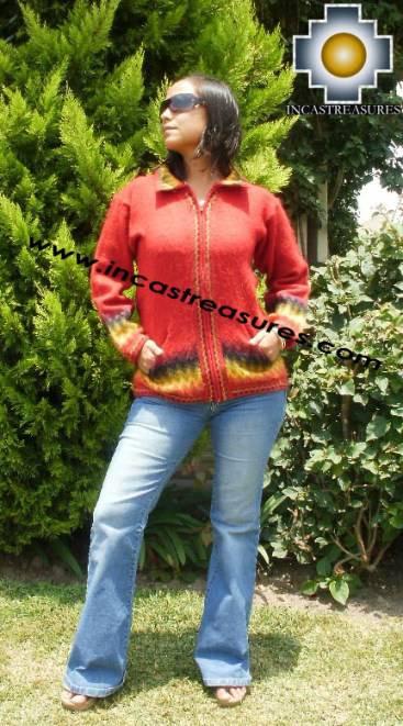 Women alpaca sweater ananaw with zipper - Product id: womens-alpaca-sweater11-01