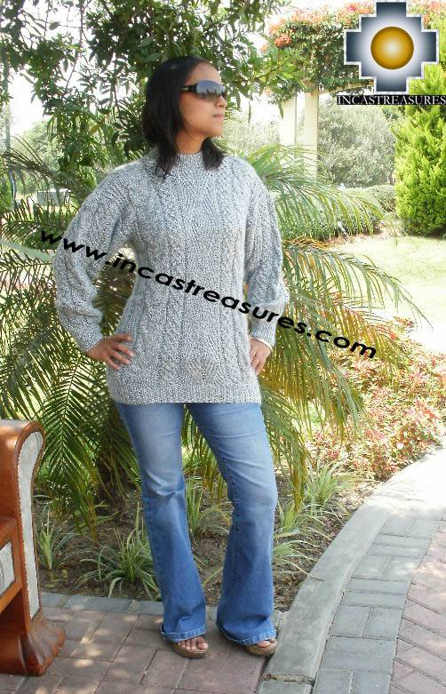Women alpaca sweater gray-irish