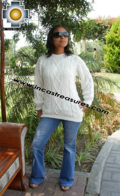 Women alpaca sweater white-irish