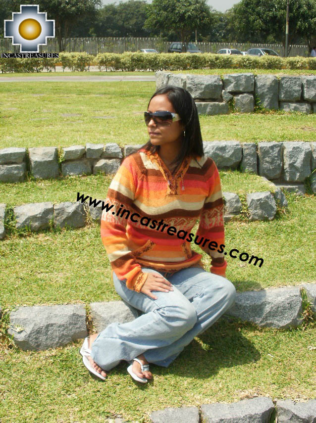 100% Alpaca Women Sweatshirt Añuje  - Product id: women-alpaca-sweater12-01 Photo01