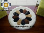 100% Alpaca baby alpaca round fur rug andean flower - Product id: ALPACAFURRUG10-03 Photo01