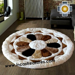 100% Alpaca baby alpaca round Fur Rug Magic Flower - Product id: ALPACAFURRUG14-02 Photo04