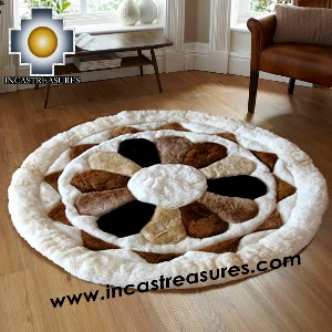 100% Alpaca baby alpaca round Fur Rug Magic Flower - Product id: ALPACAFURRUG14-02 Photo02