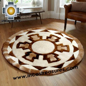 100% Alpaca baby alpaca round Fur Rug Round Shield - Product id: ALPACAFURRUG14-04 Photo04