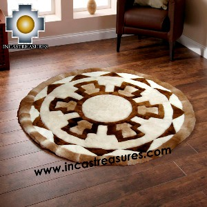100% Alpaca baby alpaca round Fur Rug Round Shield - Product id: ALPACAFURRUG14-04 Photo02