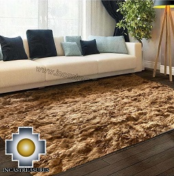 100% baby alpaca Suri fur Rug brown Borderless  - Product id: ALPACA-FUR-RUG-13-03 Photo01