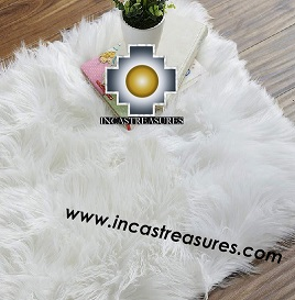 100% baby alpaca Suri fur Rug white Borderless  - Product id: ALPACA-FUR-RUG-13-04 Photo01