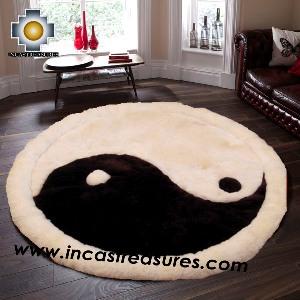 100% Alpaca baby alpaca round Fur Rug Yin Yang - Product id: ALPACAFURRUG14-05 Photo03