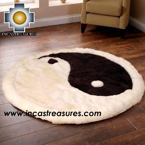 100% Alpaca baby alpaca round Fur Rug Yin Yang - Product id: ALPACAFURRUG14-05 Photo04