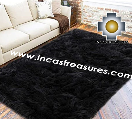 100% baby alpaca fur Rug Borderless Black - Product id: ALPACA-FUR-RUG-13-07