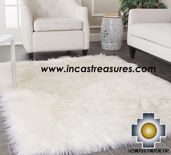 100% baby alpaca fur Rug Borderless White - Product id: ALPACA-FUR-RUG-13-09