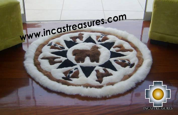 100% Alpaca baby alpaca round fur rug Alpaca Land - Product id: ALPACAFURRUG10-01